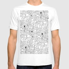 Little Escher's Building Blocks Mens Fitted Tee White SMALL