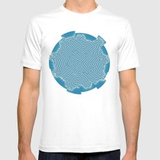 Abstract pattern Mens Fitted Tee SMALL White