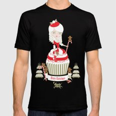 Merry Lady Christmas Cupcake Mens Fitted Tee Black SMALL