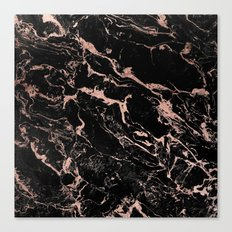 Modern girly faux rose gold foil black marble Canvas Print