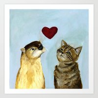 Otter And Kitty Love  Art Print