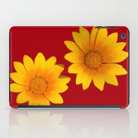 Two Yellow Flowers on Funky Red Background iPad Case