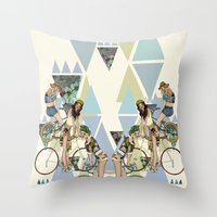 Bike Girls Throw Pillow