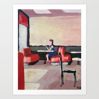 Girl Sipping Tea (painte… Art Print