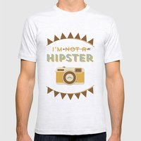 I'm Not A Hipster Camera… Mens Fitted Tee Ash Grey SMALL