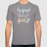 By Grace Through Faith Mens Fitted Tee Tri-Grey SMALL