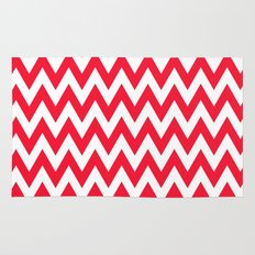 Christmas Red Chevron Rug