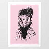 Veiled Lady on Pink Art Print