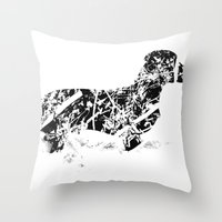 Dachshund in the snow Throw Pillow