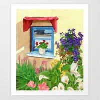 provencal_blue_window Art Print