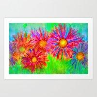 Bright Sketch Flowers Art Print