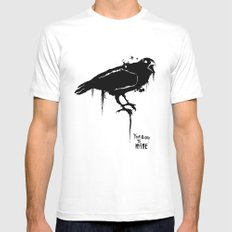 A Crow White SMALL Mens Fitted Tee