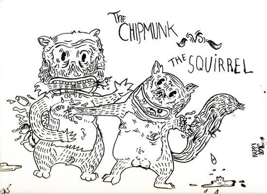 Squirrel vs Chipmunk Canvas Print