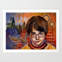 Harry's First Quidditch Match Art Print