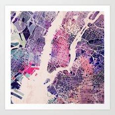 New York Mosaic Map #1 Art Print