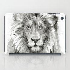 Lion Watercolor Black and White Animal Portrait iPad Case