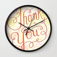 Thank you - hand lettered on chevron Wall Clock