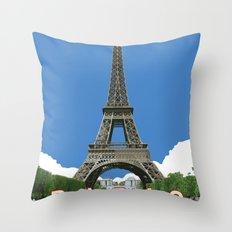 Paris Travel Poster - Vintage Style Throw Pillow