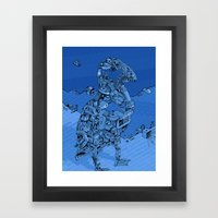 Blue Bird Machine City Framed Art Print