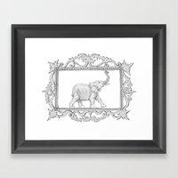 Grey Frame With Elephant Framed Art Print