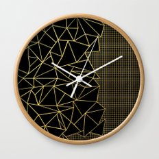 Ab Outline Grid Black and Gold Wall Clock