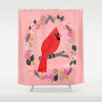Northern Cardinal By And… Shower Curtain