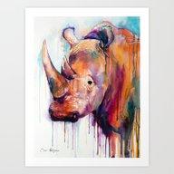Art Print featuring Rhino by Slaveika Aladjova