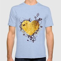 Golden Heart Mens Fitted Tee Tri-Blue SMALL