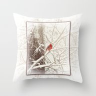 Throw Pillow featuring Frost Covered Cardinal O… by Ginkelmier