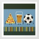 pizza, beer and football Art Print