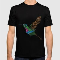Abstract Hummingbird ~ Garnet-throated Variant Mens Fitted Tee Black SMALL
