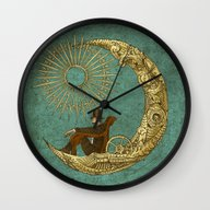 Wall Clock featuring Moon Travel by Eric Fan