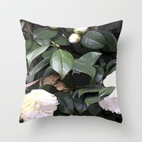 White Camellia Throw Pillow