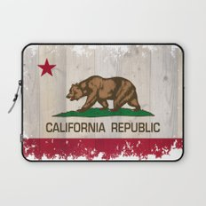 California Republic state Bear flag on wood Laptop Sleeve