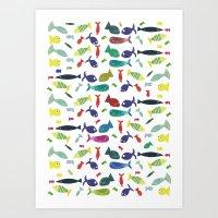 Happy Colourful Fish  Art Print