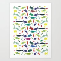 Happy colourful fish  Art Print