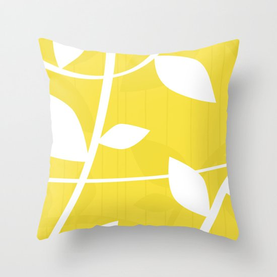 Vine in Yellow by Friztin Throw Pillow