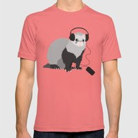Music Loving Ferret Mens Fitted Tee Pomegranate SMALL