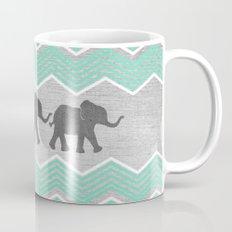 Three Elephants - Teal and White Chevron on Grey Mug