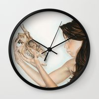 Confrontation, animal skull and human Wall Clock