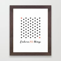 Love Endures All (Blk/Re… Framed Art Print