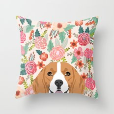 Beagle florals cute spring pet portrait dog lover gift idea beagle owners must haves flower power Throw Pillow