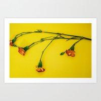 Flowers On Yellow Art Print
