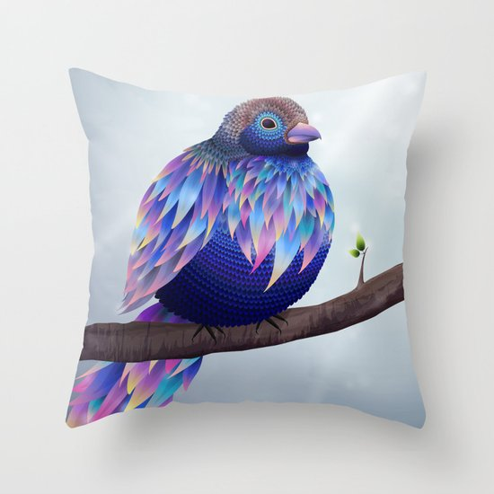 Big blue bird Throw Pillow