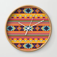 Navajo blanket pattern- orange Wall Clock