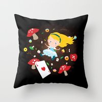 Alice Falling Down the Rabbit Hole Throw Pillow