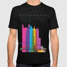 Shapes of Pittsburgh. Accurate to scale Mens Fitted Tee Tri-Black SMALL