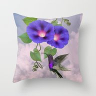 Throw Pillow featuring Hummingbird And Morning … by Spadecaller