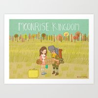 moonrise kingdom Art Prints featuring 'Moonrise Kingdom' by Nicola Colton illustration