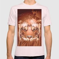 Sherock the Tiger Mens Fitted Tee Light Pink SMALL